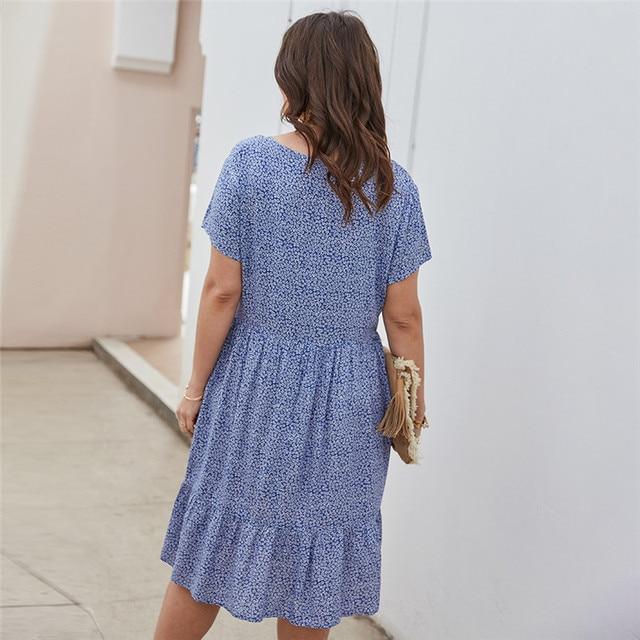 New 2021 Summer Dress Plus Size Women Beach Dresses Fashion Floral Chiffon Dress Short Sleeve V-Neck Loose Daily Dress Female 2