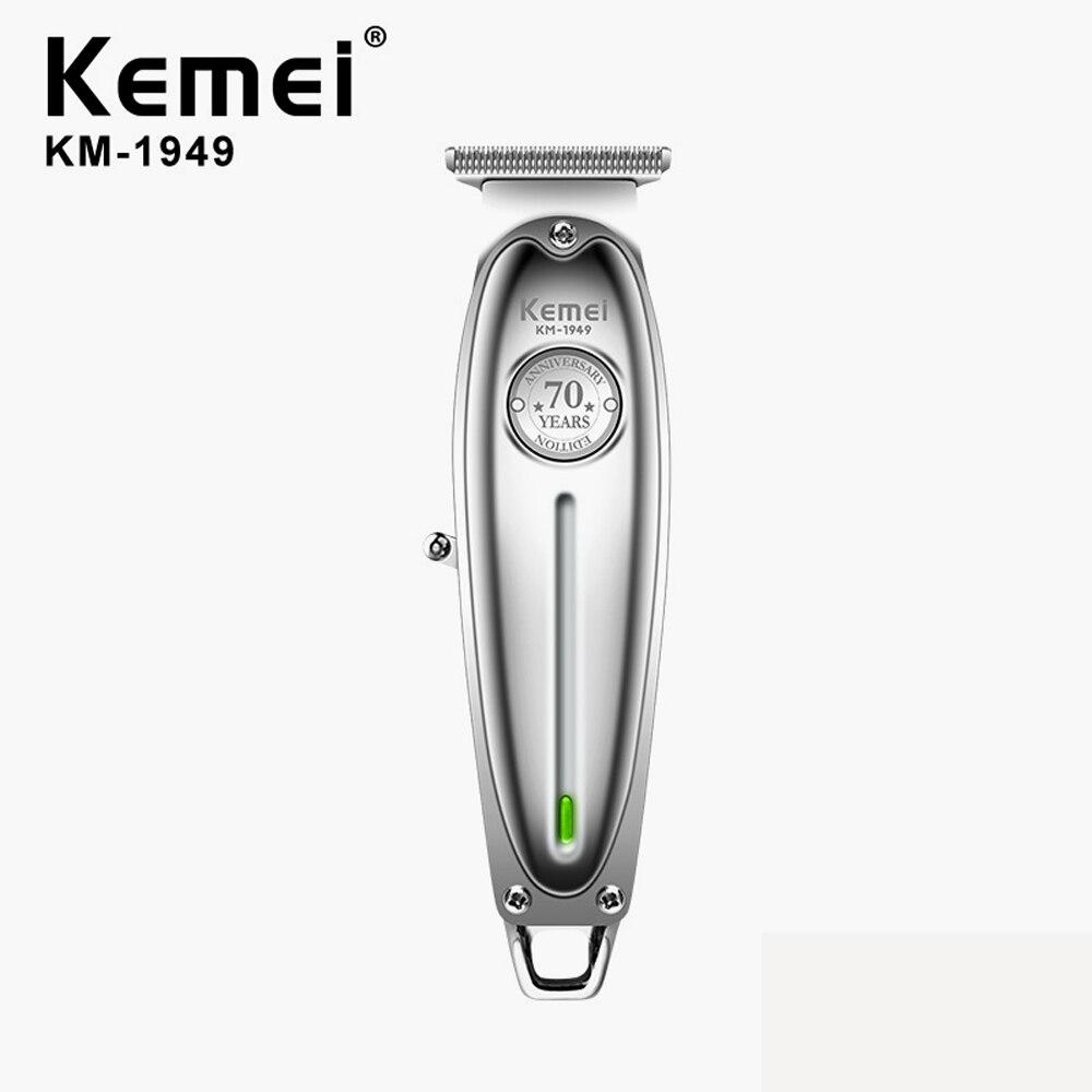Kemei Professional Hair Clipper All Metal Men Electric Cordless Hair Trimmer 0mm Baldheaded T Blade Finish Haircut Machine