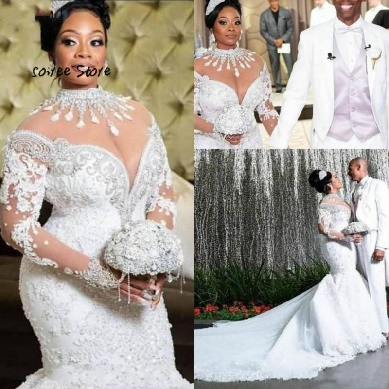 Luxury Crystal Country Wedding Dresses Mermaid Long Sleeve Wedding Dress High Neck Big Size African Women Arabic Bride Gown 2020