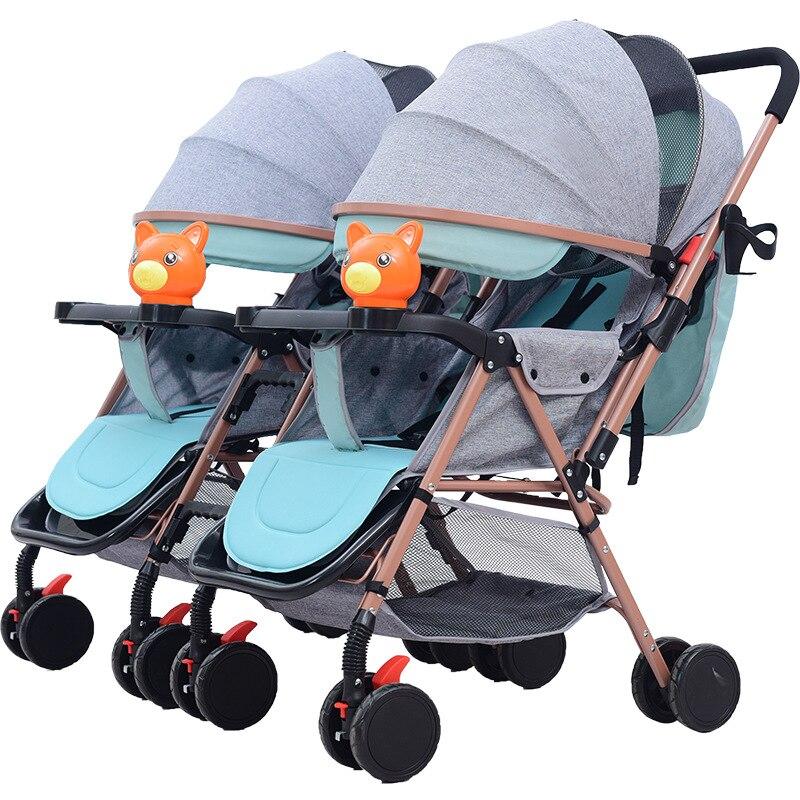 Baby Stroller Foldable Twin Baby Stroller Double Stroller Twins Passeggino Gemellare Carro Gemelar Bebe Detachable Double Pram