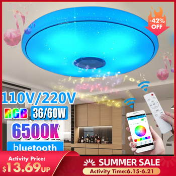 Modern RGB LED Ceiling Lights Home lighting 36W 60W APP bluetooth Music Light Bedroom Lamps Smart Ceiling Lamp+Remote Control 24w modern acrylic led ceiling light bluetooth speaker music player rgb ceiling lamp lights for living room bedroom lighting