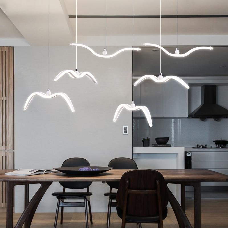 Nordic Design Seagull Led Chandeliers For Bar/Kitchen Birds Chandelier Ceiling Acrylic Lustre Suspension Luminaire Light Fixture