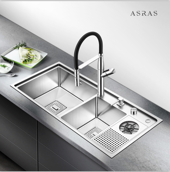 Asras 9045MD  SUS304 handmade kitchen sink cup rinser sink with drainer manufacturer free shipping DHL used good condition u 14b2 with free dhl