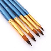 5 pçs pincéis de pintura conjunto escova de pintura de náilon haste curta escova de óleo acrílico caneta aquarela alta qualidade profissional suprimentos de arte|Pincéis de pintura| |  -