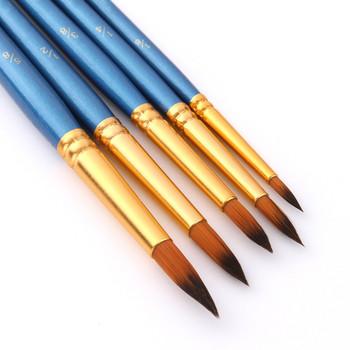 5 sztuk zestaw pędzli do malowania nylonowy pędzel do malowania krótki pręt olej pędzel akrylowy akwarela długopis wysoka profesjonalna jakość dostaw sztuki tanie i dobre opinie CN (pochodzenie) Farby WOOD Akwarela pędzla Other 6 lat 26*8cm