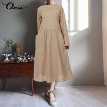 Plus Size Vintage Solid Dress Women Pleated Long Maxi Dress 2019 Celmia Casual Baggy Long Sleeve Round Neck Cotton Linen Vestido(China)