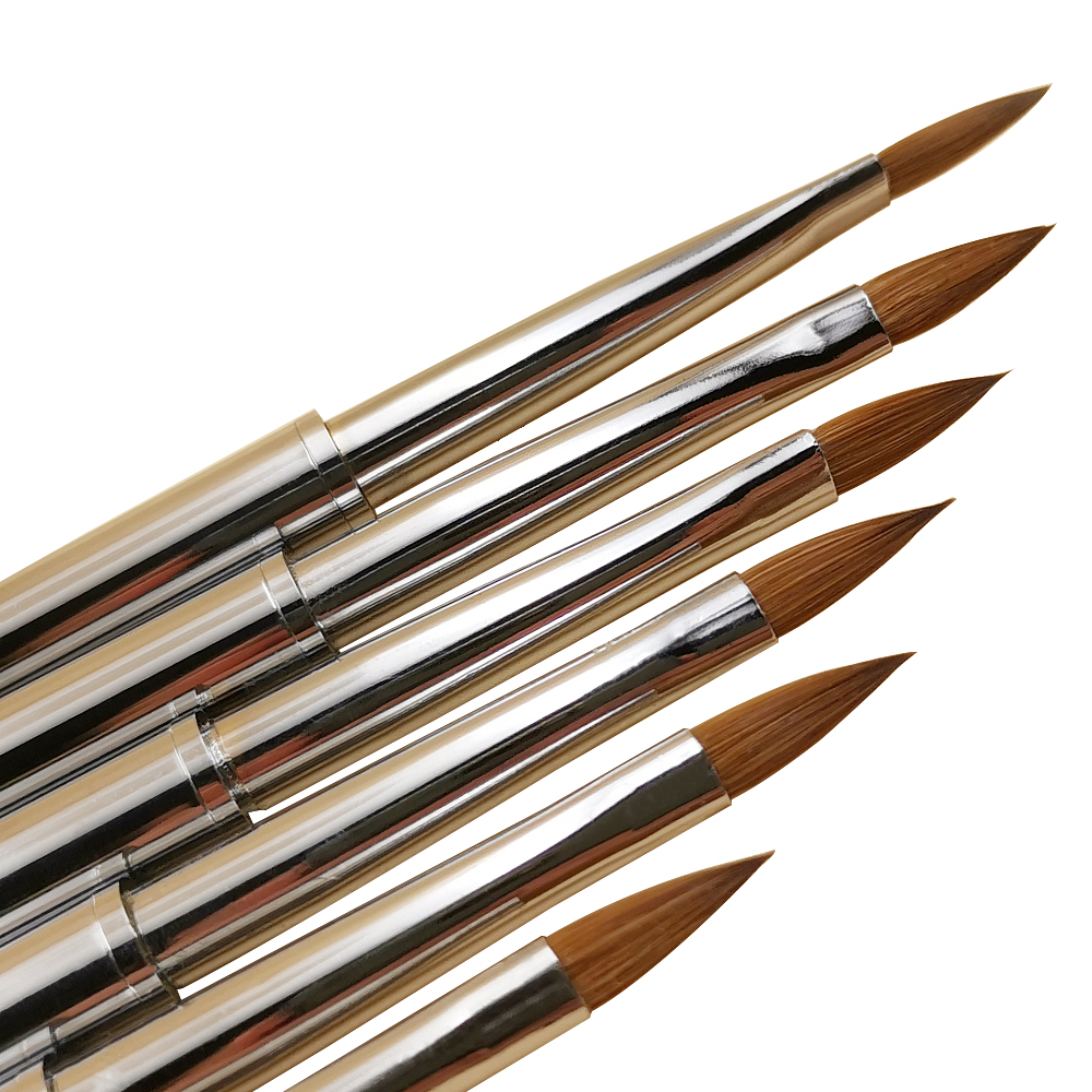 1p 100%pure Kolinsky Crystal Pen Nail Brush Metal Rod Suitable For Salon Or Home Use Kolinsky Acrylic Nail Brush Manicure Tools