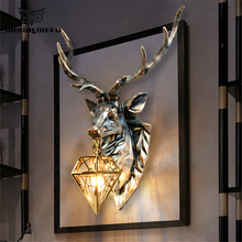 Modern American Retro Art Deer LED Wall Lamp Nordic Antlers Wall Light Fixtures Living Room Bedroom Bedside Lamp Home Luminaire