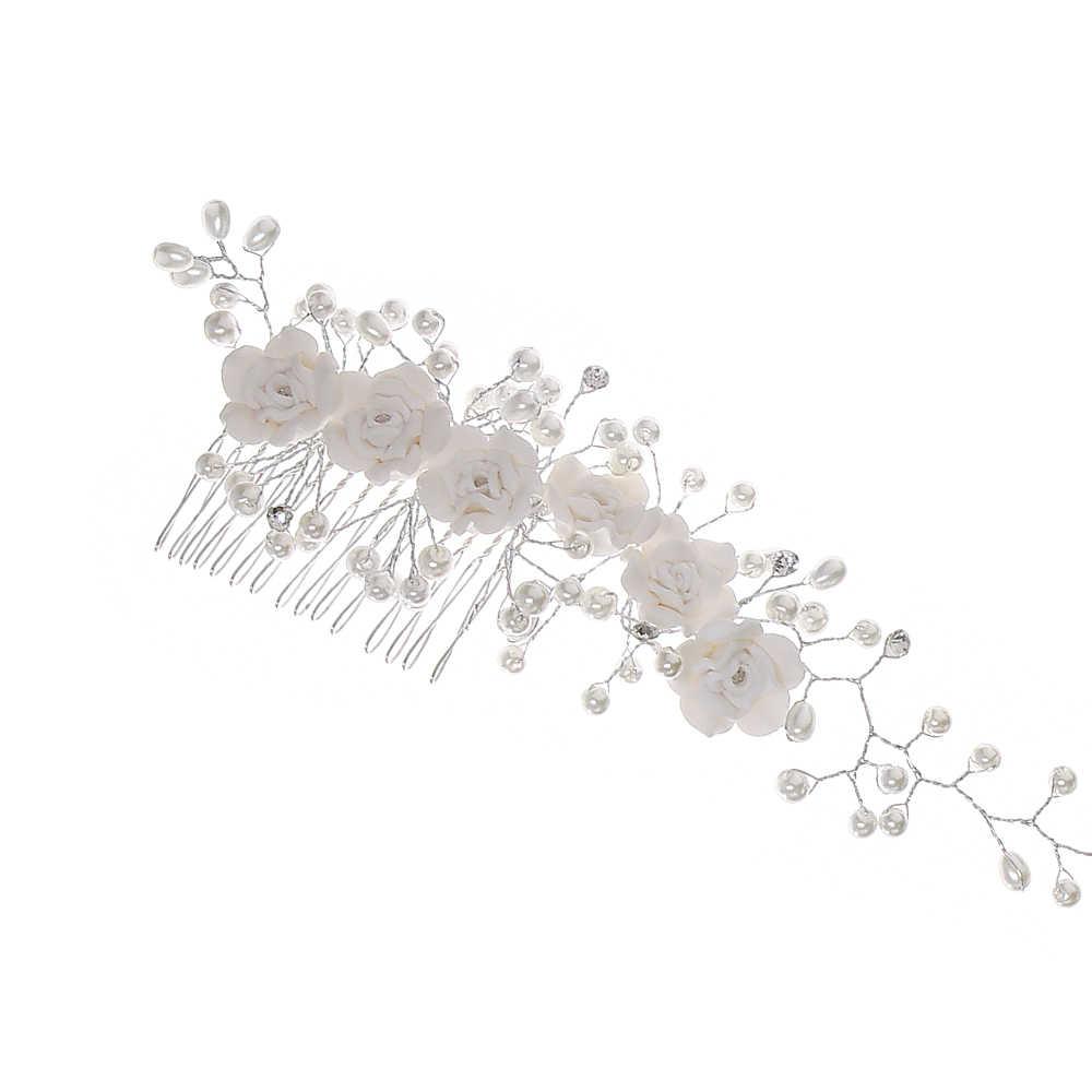 Novia Faux perla boda tiara para chica diadema floral diadema pelo flor nupcial banda de pelo accesorios de estilo