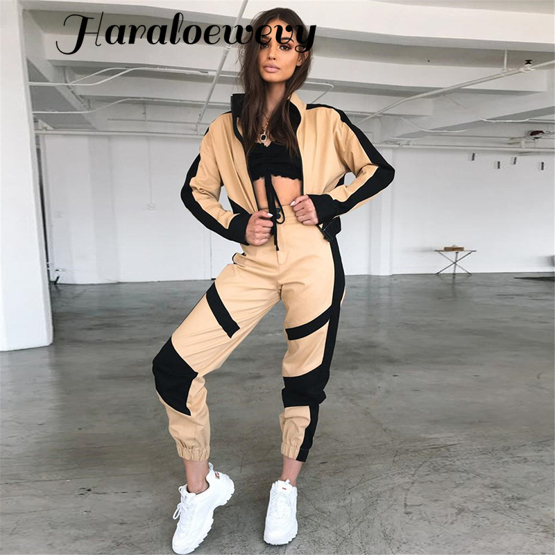 Women Autumn Jackets Sporting 2 Piece Sets Clothes Streetwear Short Baseball Jackets Black Stripe Patchwork Cargo Pants Tracksui