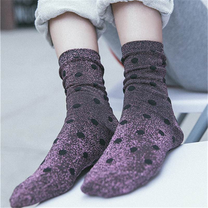 Women Socks Fashion Casual Breathable Dots Silver Wire Cotton Color Cute Women Fashion Lady Socks 1 Pair Korean Style