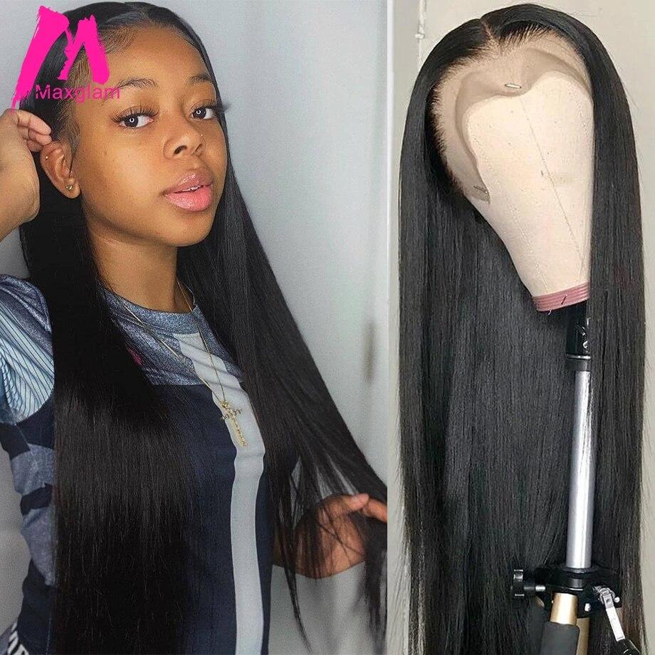 Прямые парики из натуральных волос на кружеве 28, 30, 40 дюймов, 13х4, бразильский, предварительно выщипанный, натуральный фронтальный парик без ...