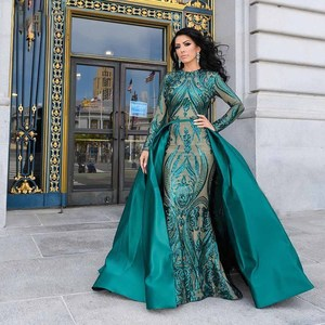 Image 1 - DressbLee Emerald Green Dubai Evening Dress 2019 Pageant Dress Full Sleeve Sequin Mermaid Formal Gown Detachable Train
