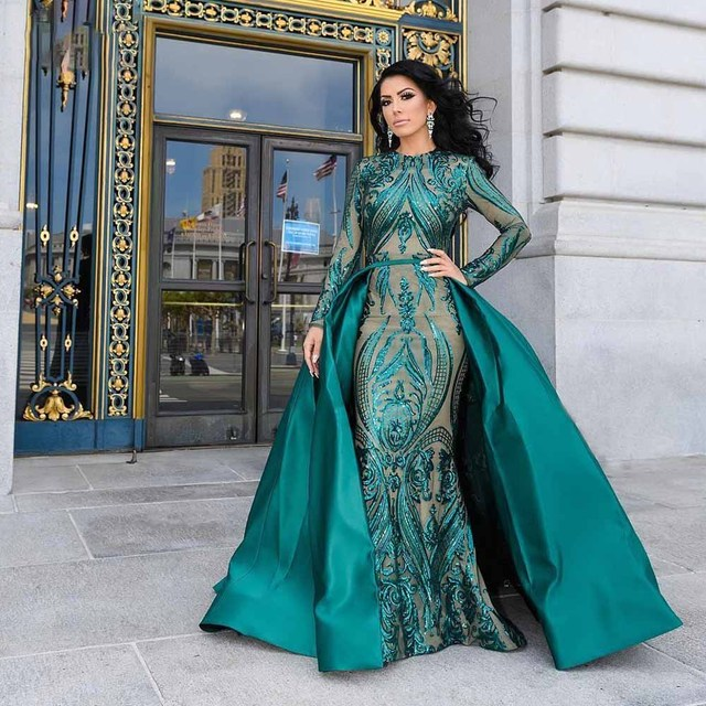 DressbLee Emerald Green Dubai Evening Dress 2019 Pageant Dress Full Sleeve Sequin Mermaid Formal Gown Detachable Train