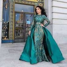 Dressblee Emerald Green Dubai Avondjurk 2019 Pageant Jurk Volledige Mouw Sequin Mermaid Formele Gown Afneembare Trein