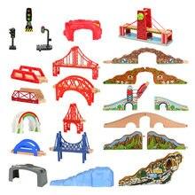Trilha de trem de madeira ponte de madeira conjunto ferroviário acessórios corrida faixas apto para thomas brinquedos educativos