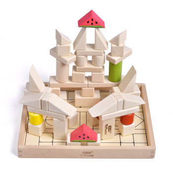 this is the wooden stacking blocks set. here they have made a castle out of the blocks