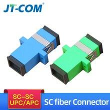 цена на 200pcs Fiber Optic Connector Adapter SC / UPC SM Flange Singlemode Simplex SC Coupler SC/APC Optical Fiber Connector wholesale