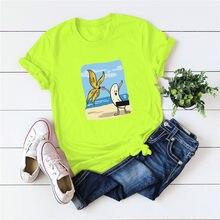 Plus Size S-5XL Cartoon Funny Banana Print T-Shirt Women 100%Cotton TShirt O Neck Short Sleeve Tees Shirt Summer Female Pink Top