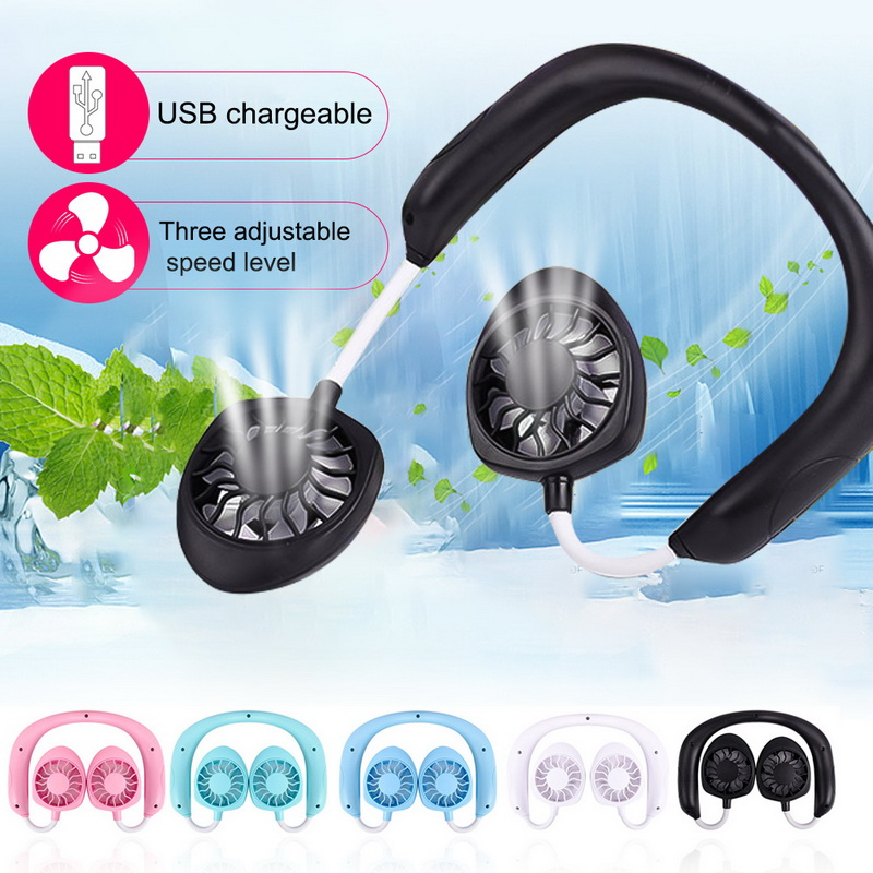 Wearable Portable Fan -in Lithium Battery Neckband Wireless Fans Adjustable 3 Wind Speed Hand-free USB Chargeable