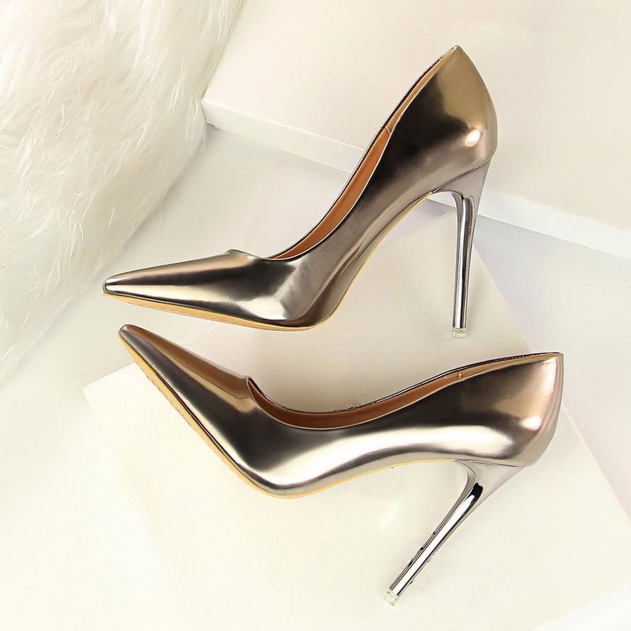 Zapatos de tacón de espejo para mujer, zapatos de tacón alto de Metal fino, zapatos de tacón alto de moda sexis, zapatos de mujer de oficina puntiagudos, G9511-7 ZUECO ARMONIAS TACÓN TRACK