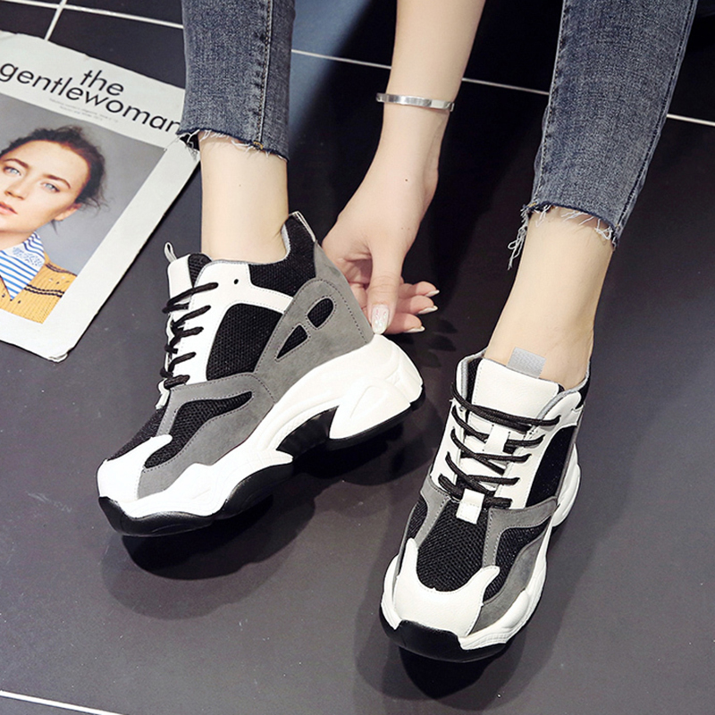 Rimocy Fashion Women Chunky Sneakers 2020 Spring Thick Sole Platform Casual Shoes Woman Height Increasing Vulcanized Shoes Femme