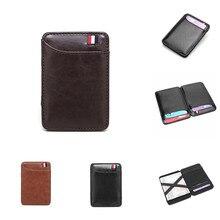 Новый модный тонкий мужской кожаный волшебный кошелек корейский дизайнерский держатель для кредитных карт женский маленький зажим для нал...