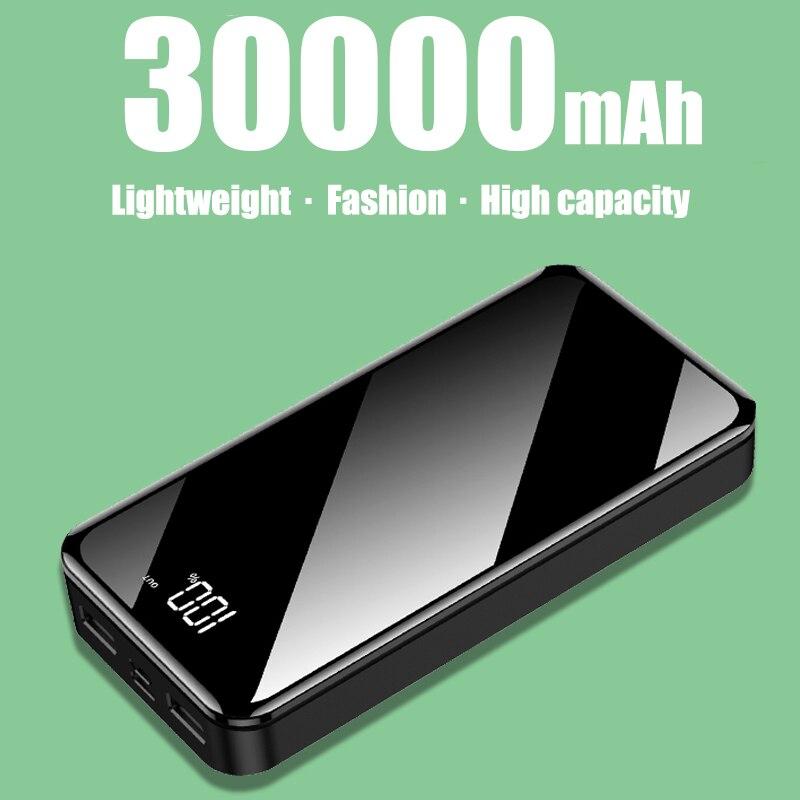 Powerbank 30000mah bateria externa poverbank 2 usb led poverbank tipo-c carregador de telefone portátil para iphone xiaomi