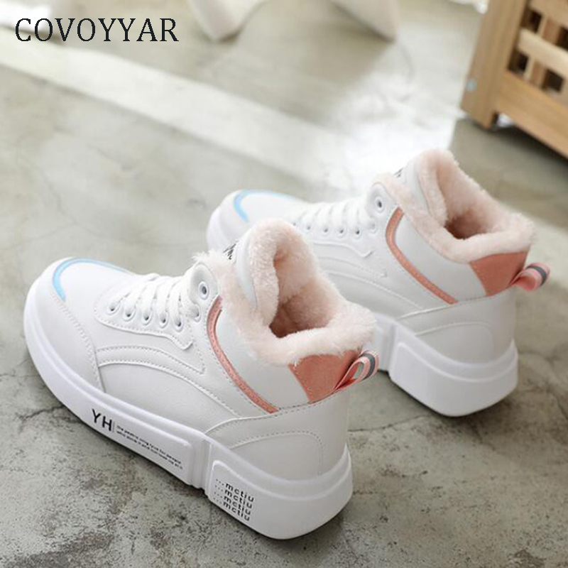 COVOYYAR 2019 Winter Women Sneakers Fur Shoes Woman White Warm Ankle Snow Boots Lady Platform Casual Shoes Size 40 WSN346