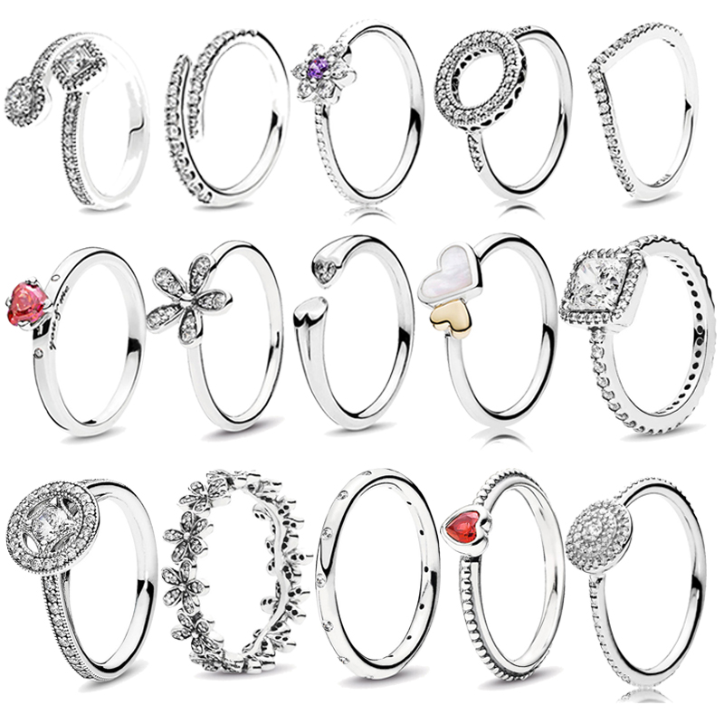 Boosbiy 2018 New 33 Style Fashion Silver Gold Color Heart Shaped Pandora Ring for Woman Jewelry Friendship Gift Dropshipping