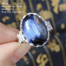 Natural azul pietersite pedra preciosa chatoyant anel ajustável olho de gato da namíbia 925 prata cristal feminino masculino aaaaa
