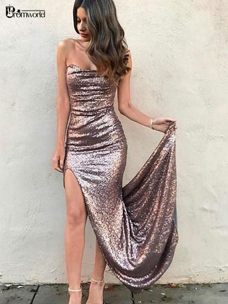 2019 New Stylish Sequin Sweetheart   Prom     Dresses   Long Side Slit Sexy Mermaid   Prom     Dress   Party PMD417