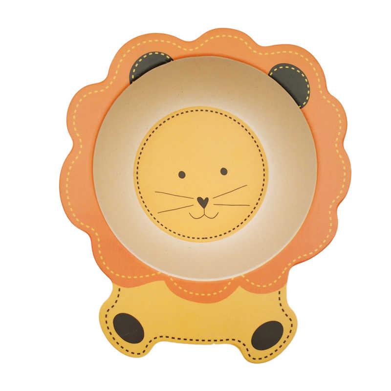 เด็กทารกไฟเบอร์ไม้ไผ่ธรรมชาติชามน่ารักการ์ตูนสัตว์อาหารเด็กชุดอาหารเด็กทารกเด็กวัยหัดเดินแบบพกพาแผ่น