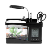 Aquarium USB Mini Aquarium Fish Tank Aquarium with LED Lamp Light LCD Display Screen and Clock Fish Tank Aquarium