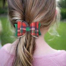 3 ''рождественские аксессуары для волос блестящий бант