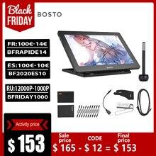 BOSTO 16HD 15.6 Cal IPS Tablet graficzny do rysowania Monitor 8192 poziom ciśnienia z akumulator długopis Stylus 16GB dysk USB