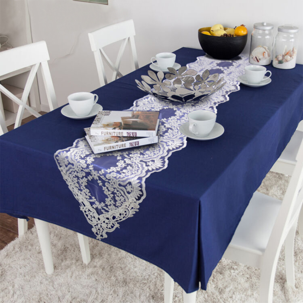 Super Deal 1f1b 1pcs White Gold Lace Table Runner With Tassel