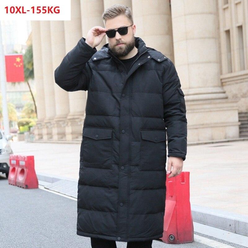 Haute qualité hommes sur le genou doudoune chaude grande taille long bas manteaux épais oversize 10XL 9XL 8XL 7XL 6XL 130KG 140KG 56