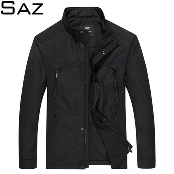 Saz Mens Casual Bomber Jacket Men Fashion Male Slim Fit  Stand Collar Overcoat