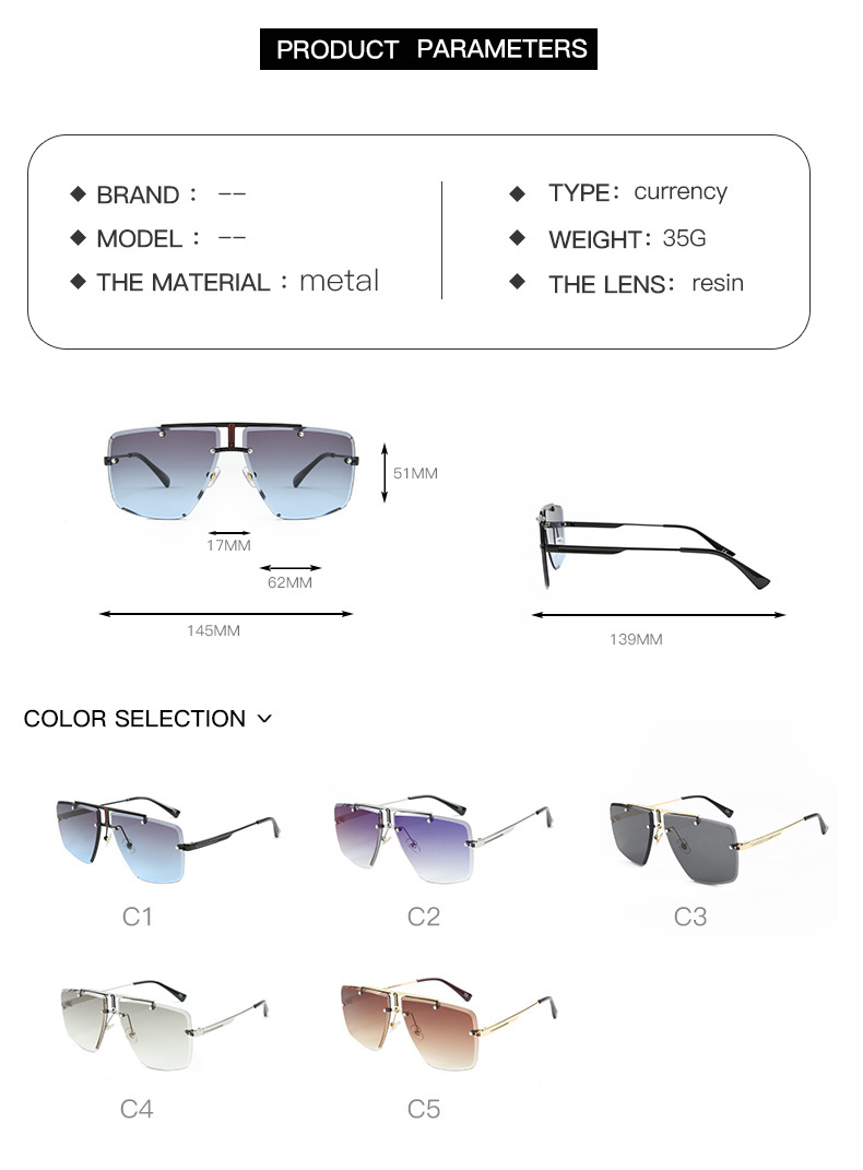 H80fb143eade94b1b848f4ff3f4f367f3Q - Square Rimless Sunglasses Men Summer New Fashion Sun Glasses Fashion Luxury Brand Shades for Women UV400 zonnebril Eyewear