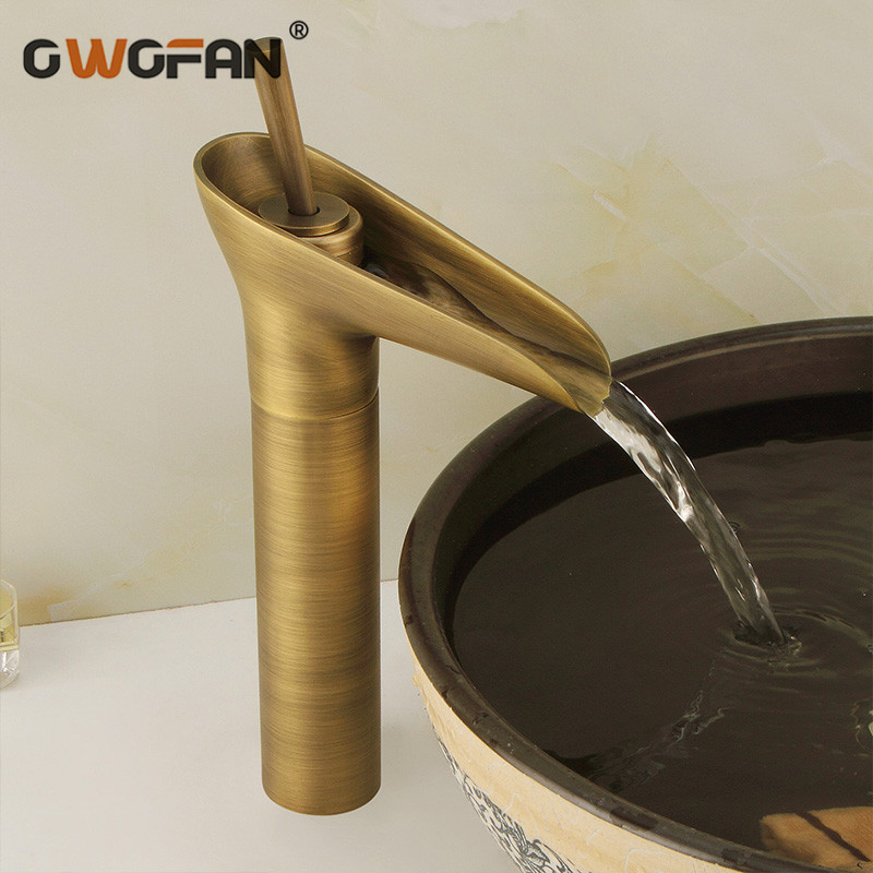 Bathroom Waterfall Basin Faucets Antique Vanity Vessel Retro Brass Sink Tap Single Handle Hot And Cold
