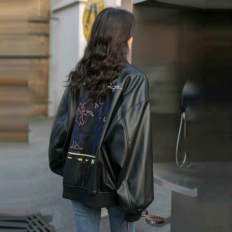 Fashionable Women's Loose Plus Size PU Jacket Korean Version Of Women's Autumn Locomotive Windproof Jacket Black PU Jacket Coat