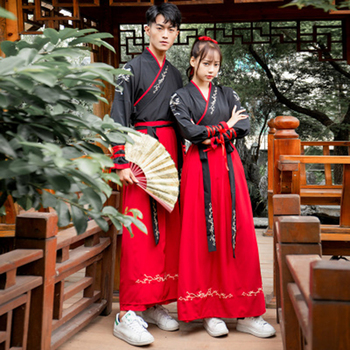 Traditional Chinese Ancient Hanfu Clothes Couples Men'S Women'S Embroidery  Skirt Student Stage Performance Tang Suit DL4183