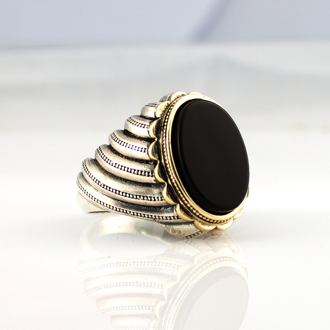 925 Sterling Silver Ring For Men With Black Onyx Stone (Made In Turkey)