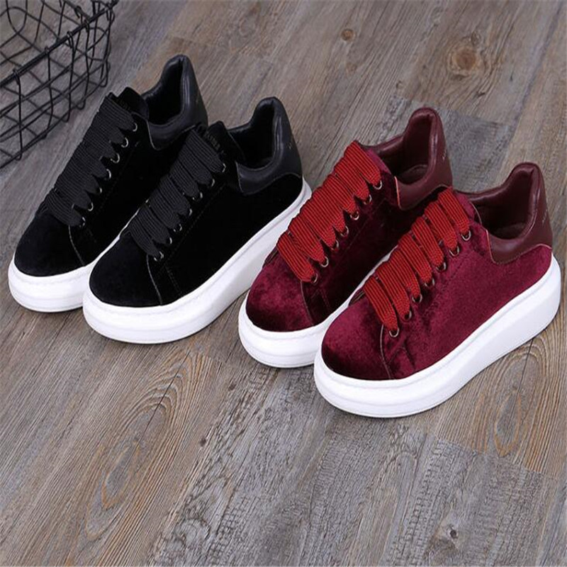 round head flat platform women's shoes black lace casual shoes celebrity comfort shoes wine red 35 44 - 5