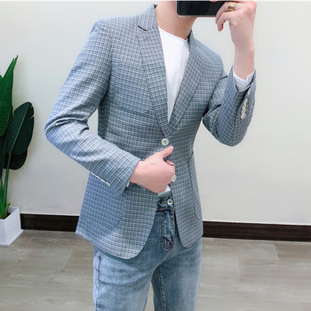 Vintage Terno Masculino Plaid Blazer For Men Casual Blazer Masculino Men Stylish Blazer Pattern Check Blazer Men Sport Blazer фото
