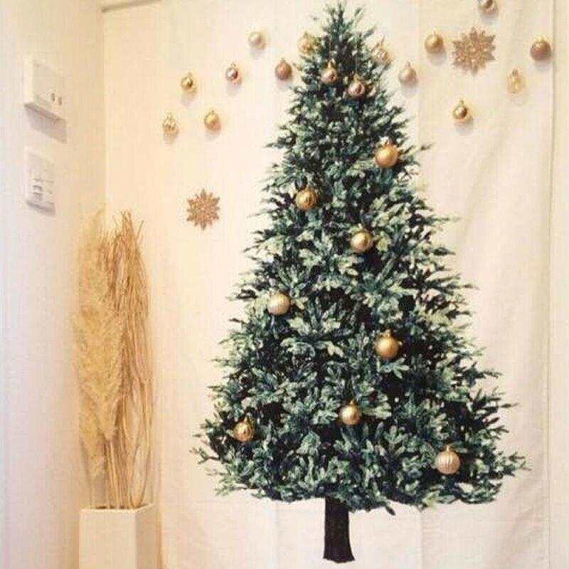 Christmas Tree Art Print Tapestry Room Ornament Wall Hanging Throw Tapestry Wall Hanging Pine Tarpaulin Blankets Home Xmas Decor