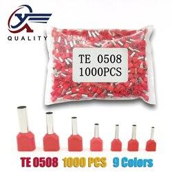 1000pcs/Pack TE 0508 Insulated Ferrules Terminal Block Double Cord Terminal Copper Insulated Crimp terminal Wires 2x0.5mm2