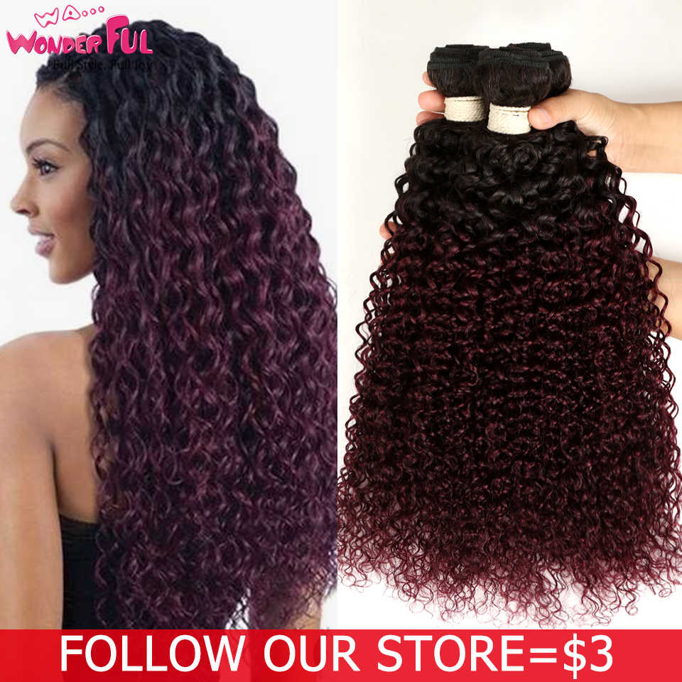 "WA...WONDERFUL Kinky Curly 10""-22"" L Mongolian Non-Remy Hair Red Wine Color Kinky Curly Bundles Mongolian Kinky Curly Hair"