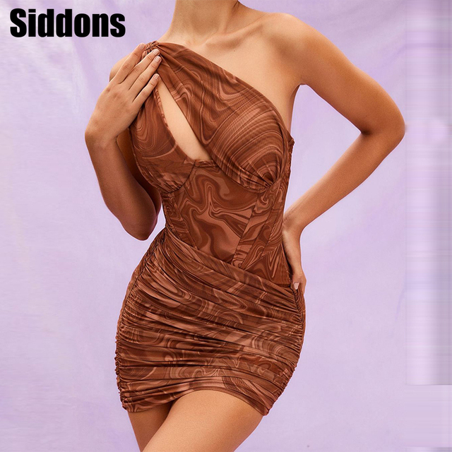 Women Summer Sleeveless Mini Dresses One Shoulder Dress Women Swirl Printed Cut Out Bodycon Mini Dress